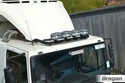 To Fit 2014+ Peugeot Boxer Steel Flat Low Roof Bar+jumbo Led Spots+clamp - Black