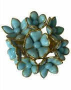 Authentic Rare Vintage And03990s Turquoise Gripoix Glass Floral Brooch