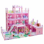 Doll House For Girls, Large 4 Storey Diy Building Toy Set Deluxe Villa Play