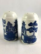 Booths Real Old Willow Salt Pepper Shakers Blue And White Lot 2 Antique Art Deco