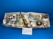 Set Of Smithsonian Institution Glass Vintage Style Victorian Christmas Ornaments