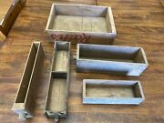 5 Vintage Lot-wood Cheese Boxes American Kraft Rath's Armour's Primitive Patina