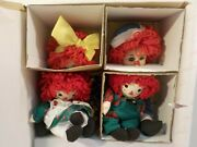 N Marie Osmond Fine Porcelain Miracle Children Rosie And Rags W Plush Clowns