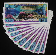 10 Pieces Palmyra Is. Us Terr. Polymer 2 Coral Reef Reed Fantasy Art Banknotes
