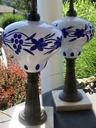 Pair Antique C1850/60 Cobalt Blue White Overlay Sandwich Glass Matched Oil Lamp
