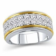 1-1/2ct Diamond Multi-row Vintage-style Eternity Band Ring In 10k Two-tone Gold