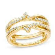 3/8ct Diamond Crossover Solitaire Enhancer Wrap Guard Ring 10k Yellow Gold