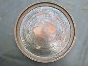 Large Antique Round Copper Tinned Middle Eastern Tray With Foliate Design