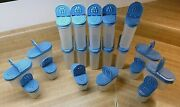 20 Pc Tupperware 1843 And 1846 Spice Shaker Container Modular Mates Blue Lid Seal