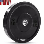 New Fitness Olympic Rubber Bumper Weight Plates Plate 10/15/25/35/45 Lbs Usa