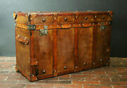English Handmade Tan Leather Vintage Inspired Coffee Table Trunk Antique Home