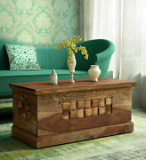 Antique Woodway Solid Wood Trunk Table Box In Rustic Teak Side Table Home Decor