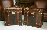 English Leather Pair Of Occasional Side Table Trunk And Chests Antique Home Decor