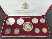 1976 Coinage Of The Bahamas 9 Coin Proof Set By Franklin Mint W/ Orig Docs And Coa