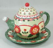 2001 Mary Engelbreit Maryment Christmas Teapot And Plate