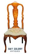 18th C Antique Dutch Marquetry Inlaid Walnut Chair North Wind Face And Mermaid