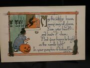Scarce Vintage Halloween Postcard-young Girl Sees Witch From Window -rust Craft