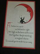 Vintage Sprite On The Horns Of The Moon-vintage Halloween Postcard-by Sanford