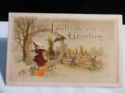 Beautiful Rare Vintage Halloween Postcard-red Witch Tinted Sepia Tone-by Gibson