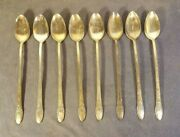 1847 Rogers Bros Silverplate Flatware Ice Iced Tea Spoons, First Love 1937 8 Pcs