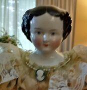 New Antique 22 High Brow 1860s China Head Doll On Repro Body In Great Dress9