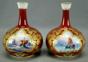 Pair Of Royal Crown Derby Signed Wd Boat Scene Beaded Gold And Red Miniature Vases