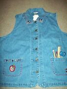 Christopher And Banks Teacher Theme Print Blue Jeanvest Xl Brand New W/tags School