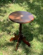 @1850 American Antique Candlestand Federal Furniture Walnut And Cherry Side Table