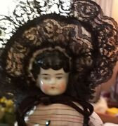 Antique 12 Hertwig China Head Doll In Cute Outfit And Bonnet9