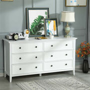 Solid Wood 6 Drawers Double Dresser Chest Large Storage Cabinet In Bedroom White