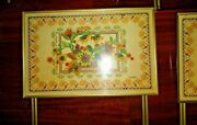 Vintage Lavada Faux Needlepoint Floral Basket Of Flowers 4pc Tv Tray Set