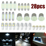 28x Car Interior Led Light Bulbs For Map Dome License Plate Lamp Kits Accessory