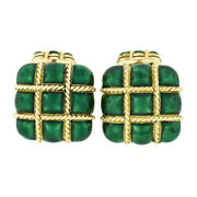 Vintage 18k Yellow Gold Puffed Square Checkerboard Green Enamel Menand039s Cuff Links