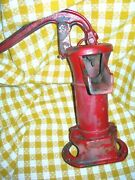 Antique Cast Iron Water Well Hand Pump W/original Red Paint Farmhouse Find