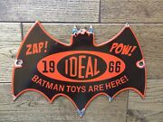 Vintage Porcelain 1966 Ideal Batman Toys Display Sign Toy Store 11.5andrdquox8andrdquo