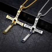 Necklace Pendant Cross Dominic Toretto Stainless Steel Silver Vin Diesel Jewelry