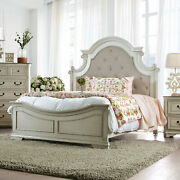 Bedroom Furniture Solid Wood Queen Size Bed Antique White Wash 1pc Bedframe