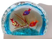 Vintage Murano Glass Large Two Sided Aquarium Fish And Coral