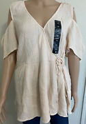 Lucky Brand Top Plus Size 1x Pink Could Shoulder Wrap Blouse New