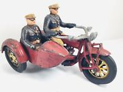 """1930's Cast Iron Very Rare """"globe"""" Motorcycle And Sidecar W/ Reproduction Police"""