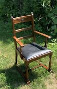Walnut Mission Arts And Crafts Furniture Antique Dining Arm Chair Throne Chair
