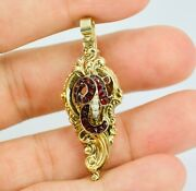 14k Yellow Gold Round Red Garnet And Pearl Seed Carved Pin / Pendant