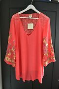 New Fig And Flower Anthropologie Top Blouse Tunic Lace Coral Plus Size 2x