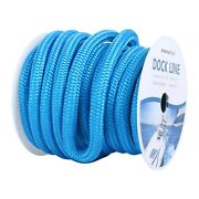 3/4and039and039 50ft Double Braid Nylon Dock Line Mooring Rope 9500 Lbs Breaking Strength