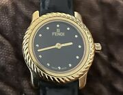 Vintage Fendi Watch 800 L Roman Numeral Black Face Gold Plated Watch. Swiss Made