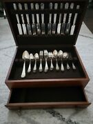 Rare Find 55 Piece Set With Wooden Box 1847 Rogers Bros Silverware Xs Triple