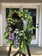Farmhouse Tuscan Country Fall Summer Everyday Concord Grapes Prem Door Wreath