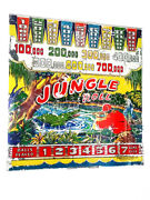 """Old 1940s Cole Ent. Arcade """"jungle Roll"""" Pinball Machine Back Glass. Great Relic"""