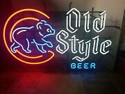 Old Style Beer Chicago Cubs Walking Bear Neon Light Sign Wrigley Baseball Bar