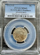 1913-d Two 2 Feather Buffalo Nickel Us Coin - Pcgs Ms63 Fs-401 - Full Strike